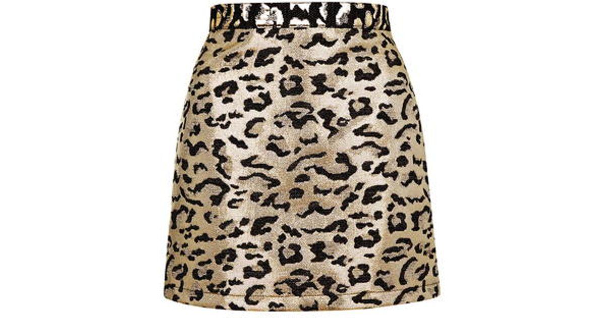 Topshop Petite Metallic Leopard Print A-line Skirt in Metallic | Lyst