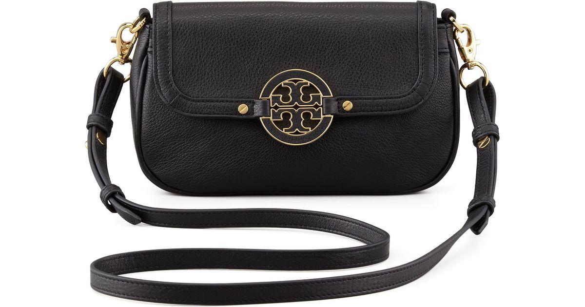 fe93c4c37b78 Lyst - Tory Burch Amanda Mini Messenger Bag Black in Black