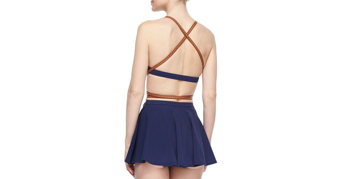 8dbc7a87e5 Michael Kors Strappy Belted Skirted Two-piece Swimsuit in Blue - Lyst