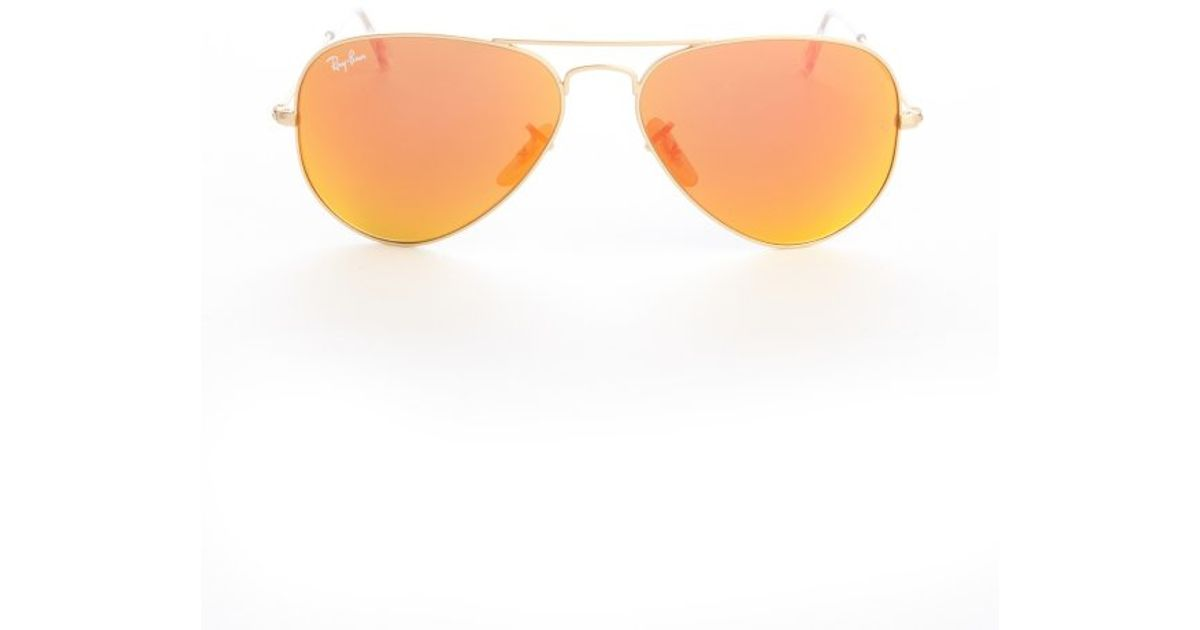 brown lens aviator sunglasses  Ray-ban Gold Metal And Brown Orange Flash Lens Aviator Sunglasses ...