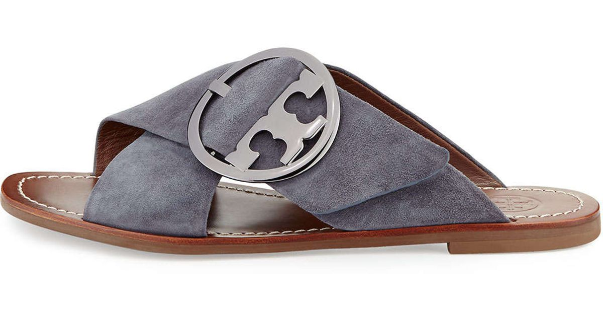 38bb44e8499 Lyst - Tory Burch Grant Suede Sandal Slide in Gray