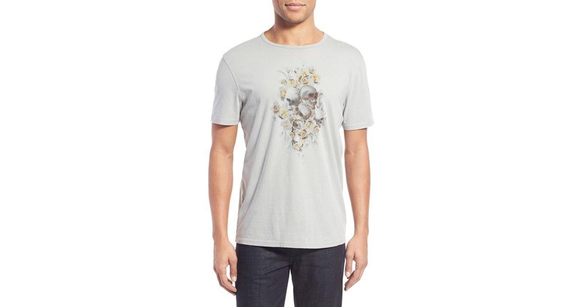 7f54e209e Lyst - John Varvatos 'floral Skull' Graphic Crewneck T-shirt in Natural for  Men