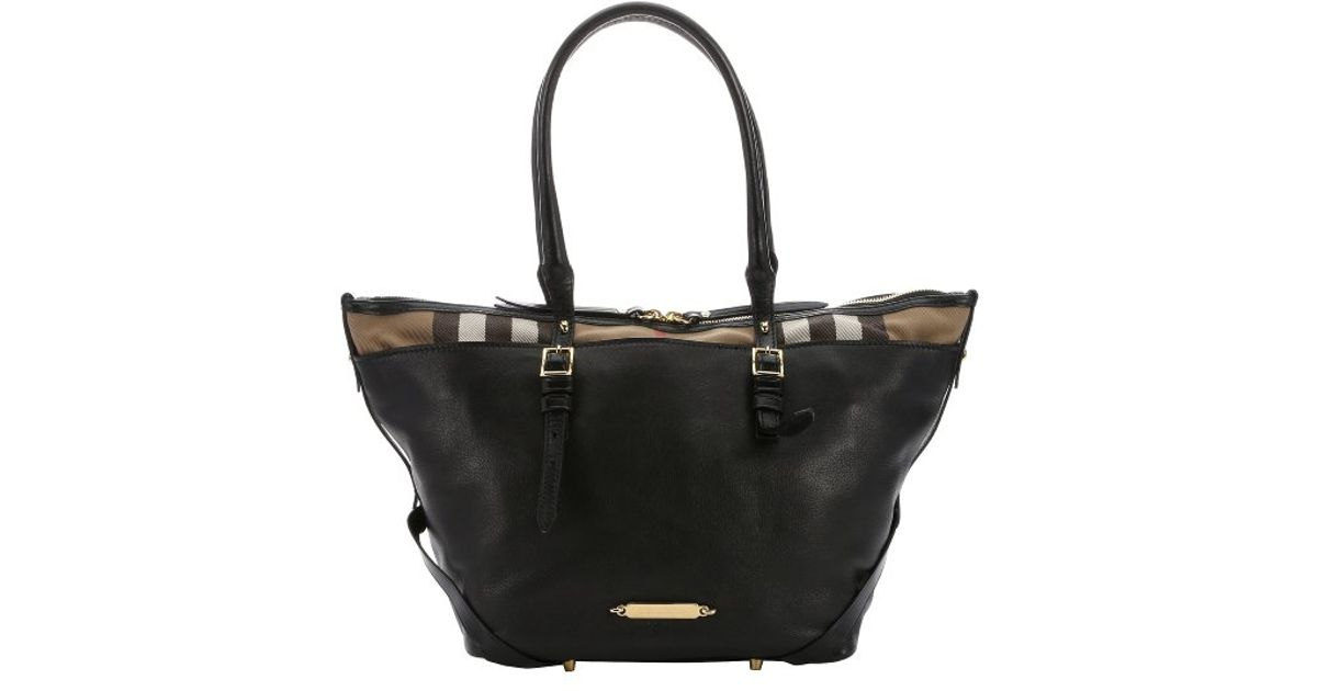 Lyst - Burberry Black Leather And Dark Tan House Check Canvas  salisbury  Small  Tote in Black 5187c828a97ca