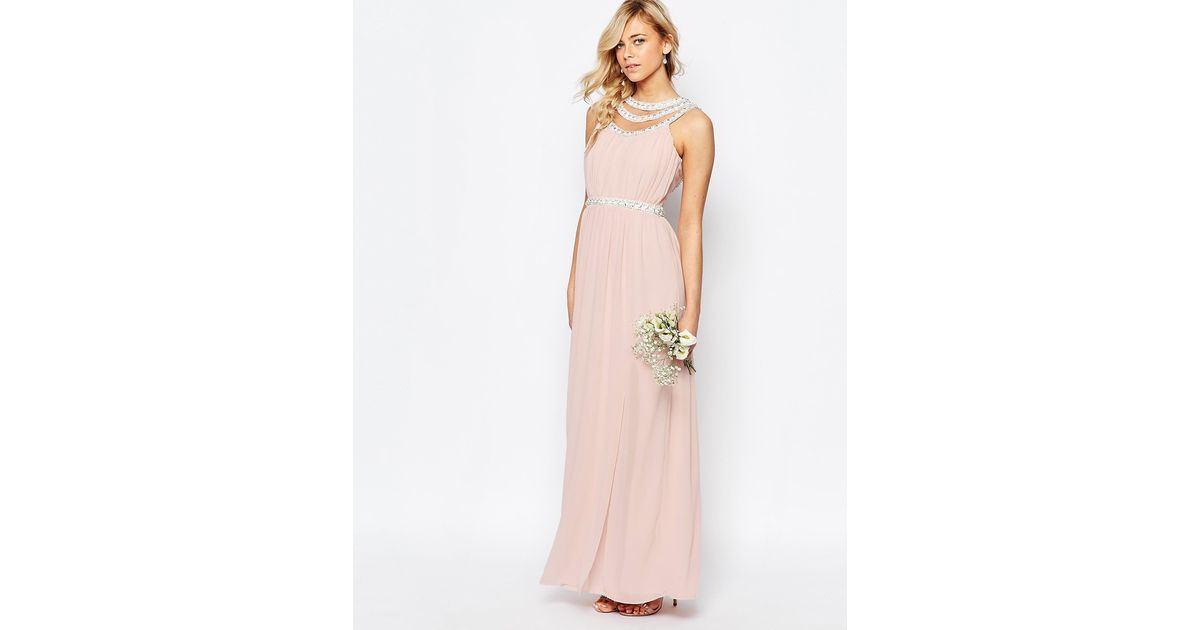 Tfnc London Wedding Embellished Maxi Dress In Pink