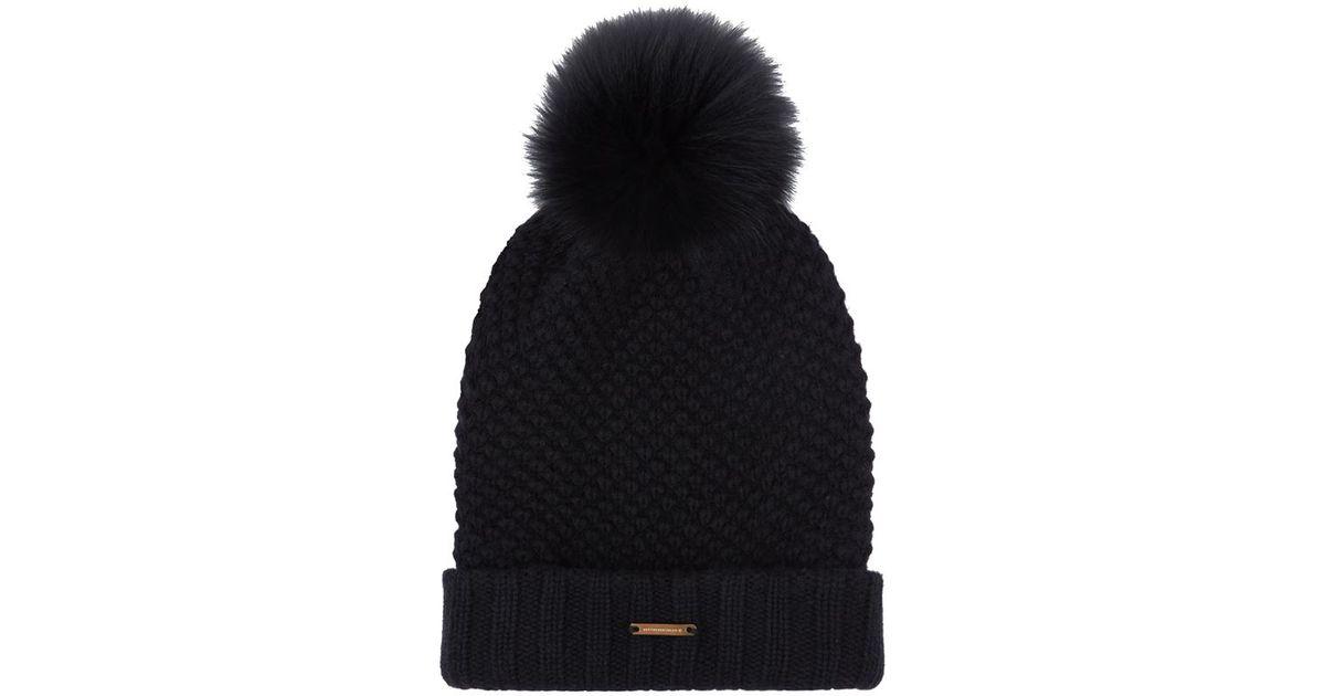 0be02bf9993 Burberry Fur Pom-Pom Wool Cashmere Beanie Hat in Black - Lyst