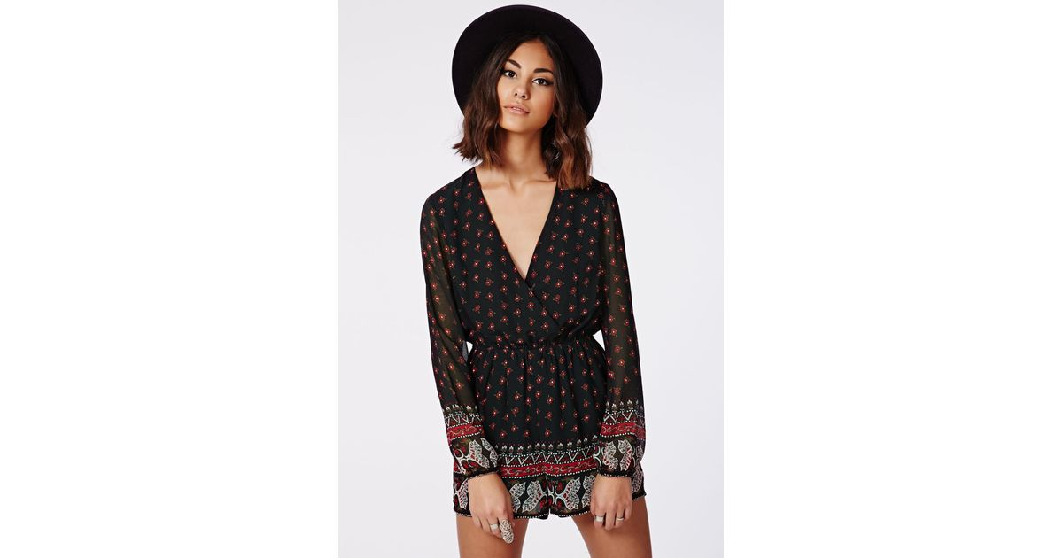 6273041e98 Missguided Ariana Paisley Print Wrap Playsuit Black in Black - Lyst