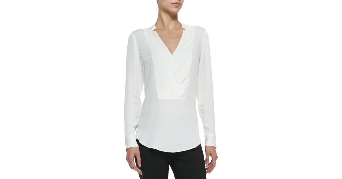 5e34aa1b12 Lyst - Theory Corbette Split-neck Silk Blouse in White