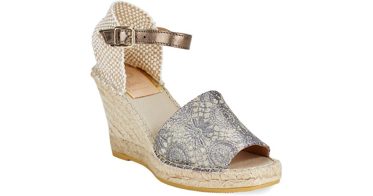 5124afcb344c4 Vidorreta Lily Graphic Lace Espadrilles Wedge Sandals in Natural - Lyst