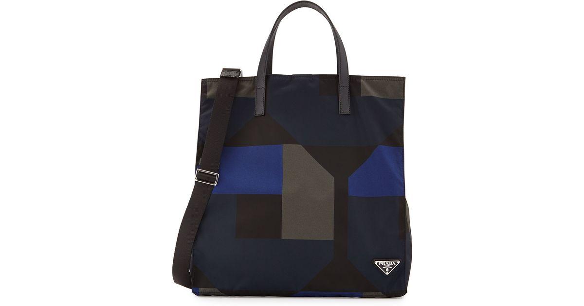 4833d35f1625 ... free shipping lyst prada mens printed nylon tote bag in black for men  63d2f 29e30