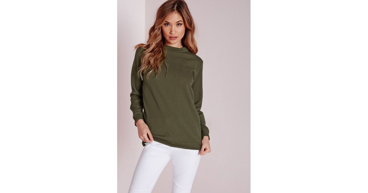 Missguided Texture Longline Sweater Khaki in Natural   Lyst