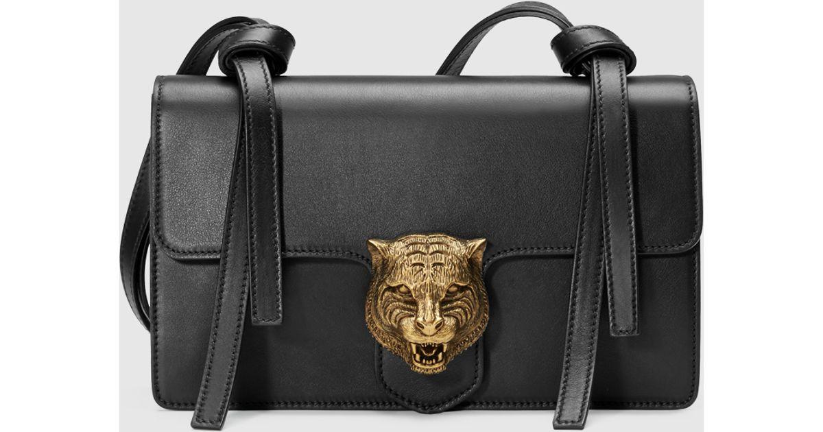e9b38166592d92 Gucci Animalier Leather Shoulder Bag in Black - Lyst