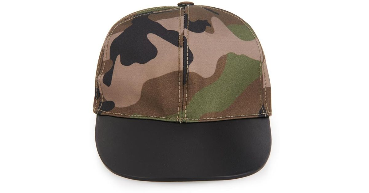 Camouflage-print Shell And Leather Baseball Cap Valentino QNGcW