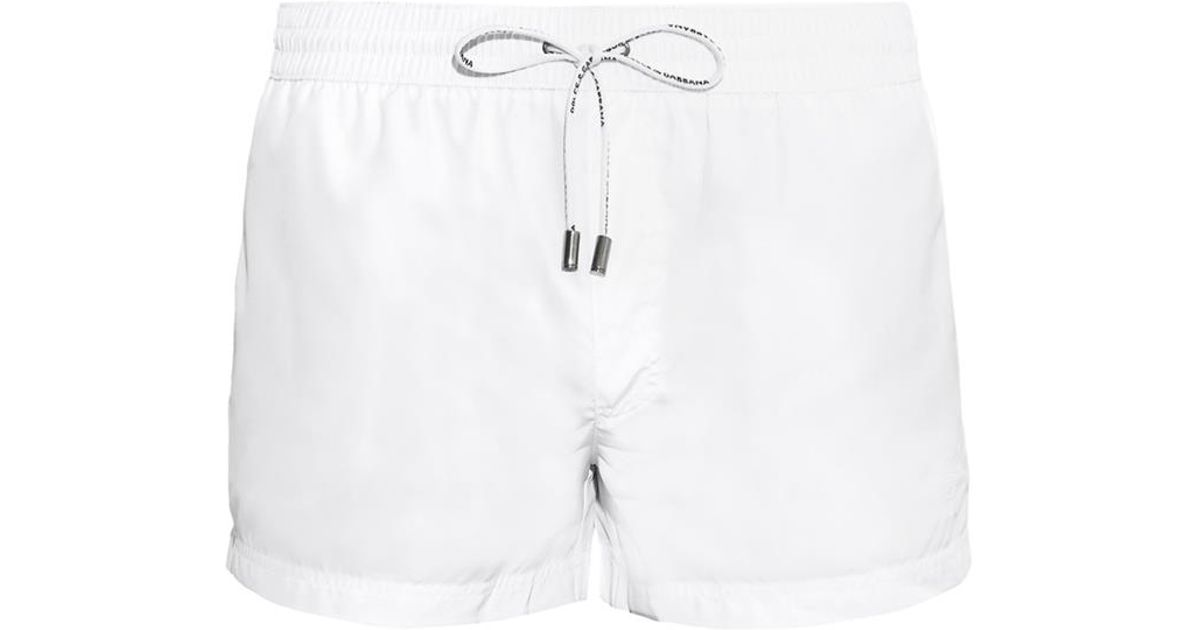 Lyst - Dolce   Gabbana Crest-Embroidered Swim Shorts in White for Men d012c3cbc