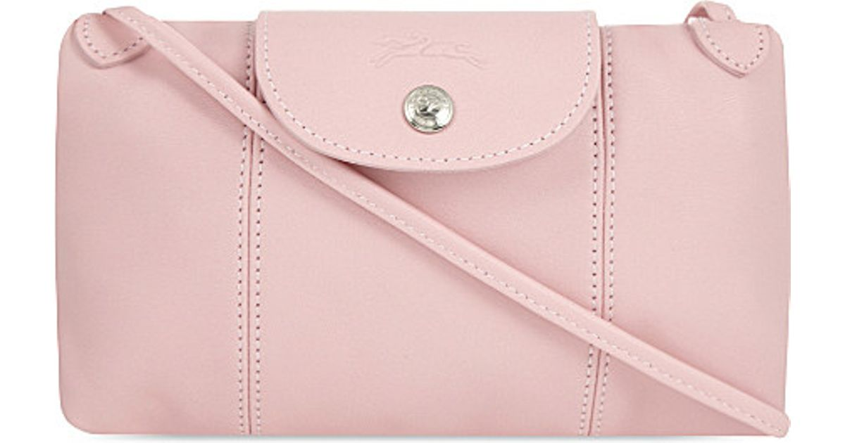 ce64bd98d26 Longchamp Le Pliage Cuir Leather Cross-body Bag in Pink - Lyst