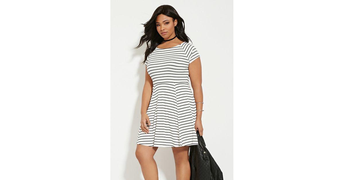 Lyst Forever 21 Plus Size Stripe Smock Dress In White