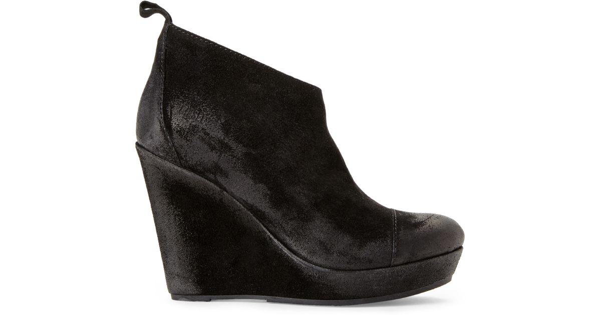 diesel black wedge booties in black lyst