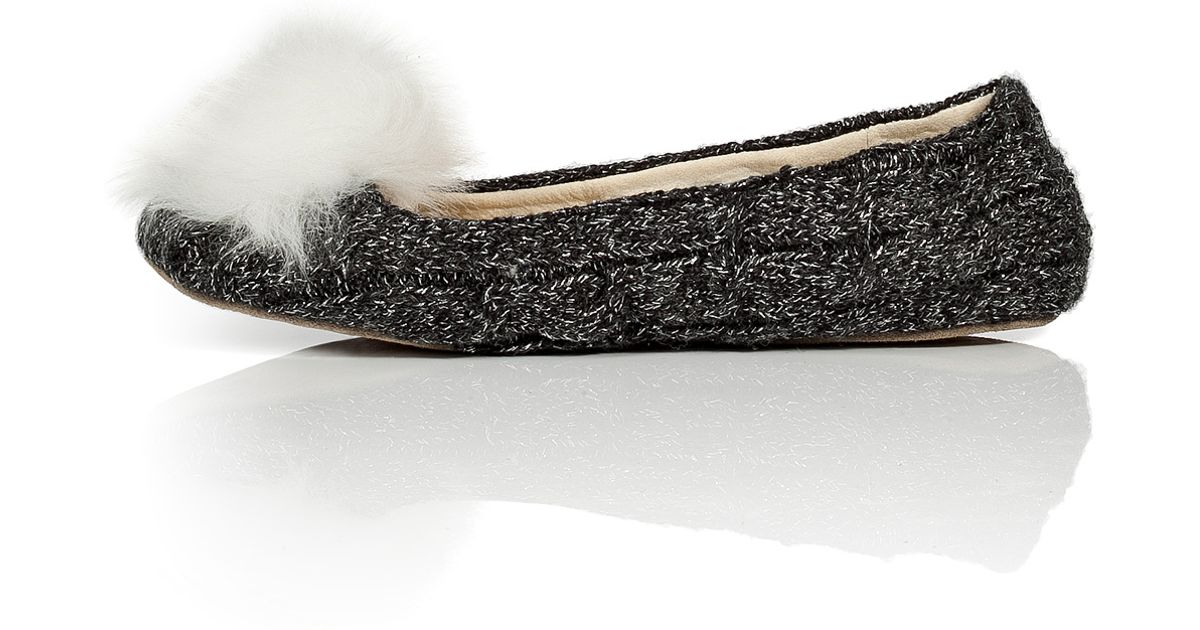 bcc581aa19ff Lyst - UGG Wool Slippers With Fur Pompom - Grey in Brown