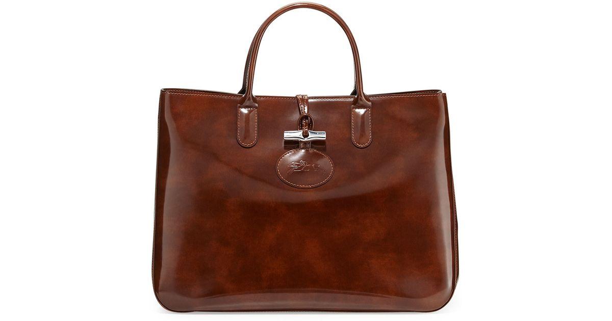 Lyst - Longchamp Roseau Large Patent Box Tote Bag in Brown 68735fddd57c3