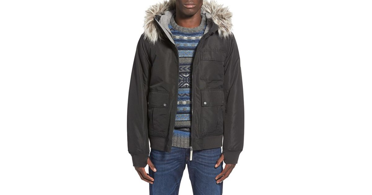 Jacket Fur With Faux 'sizzle' Hooded In Bomber Trim Lyst Bench wfq0Ix