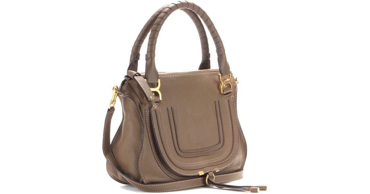 Chlo¨¦ Marcie Medium Leather Shoulder Bag in Khaki (Barbour Khaki ...