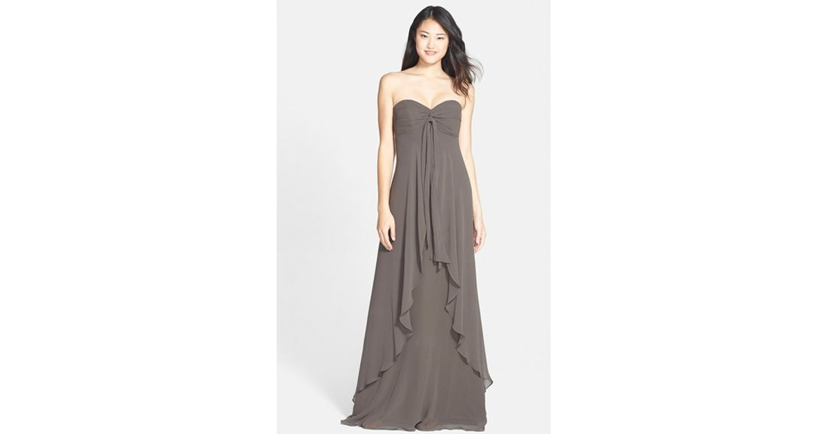 c5de0fecac71 Jenny Yoo 'suri' Convertible Strapless Chiffon Dress in Gray - Lyst