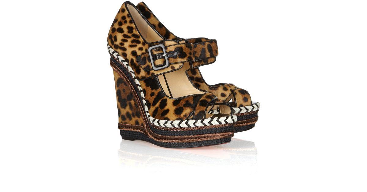 2528368ec Christian Louboutin Highlander 140 Leopard-Print Calf Hair Wedge Sandals -  Lyst