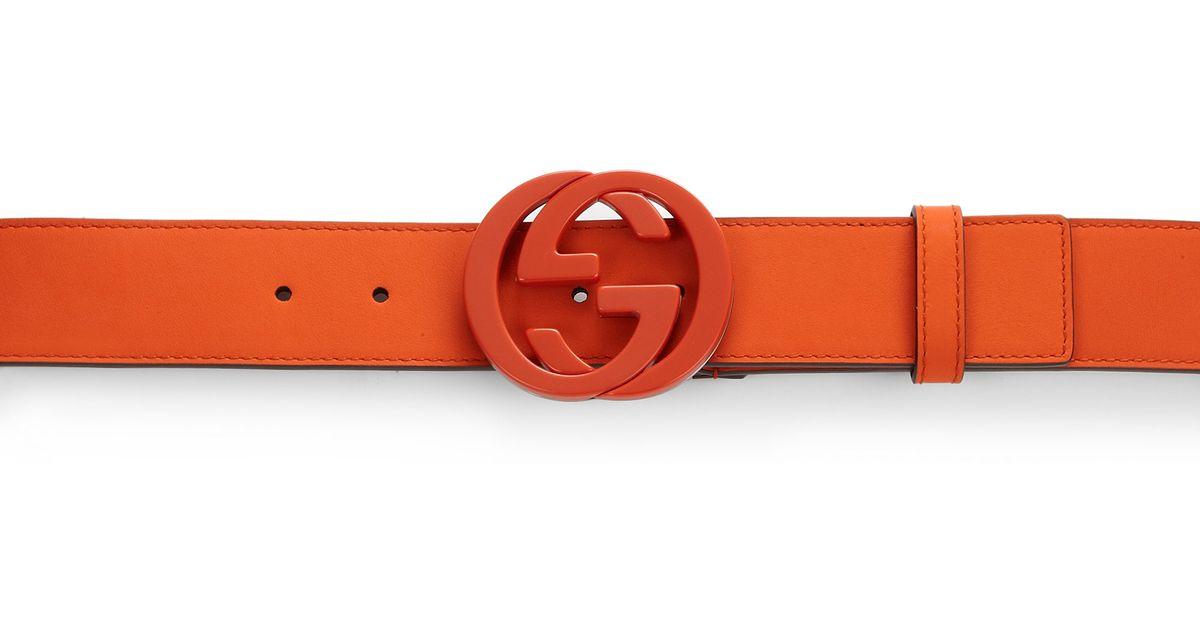 4c43e47ae92 Lyst Gucci Interlocking G Buckle Leather Belt In Orange For Men