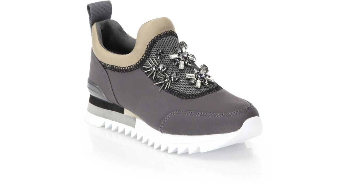 253b54237db4a7 Lyst - Tory Burch Rosas Embellished Sawtooth Slip-on Sneaker in Gray