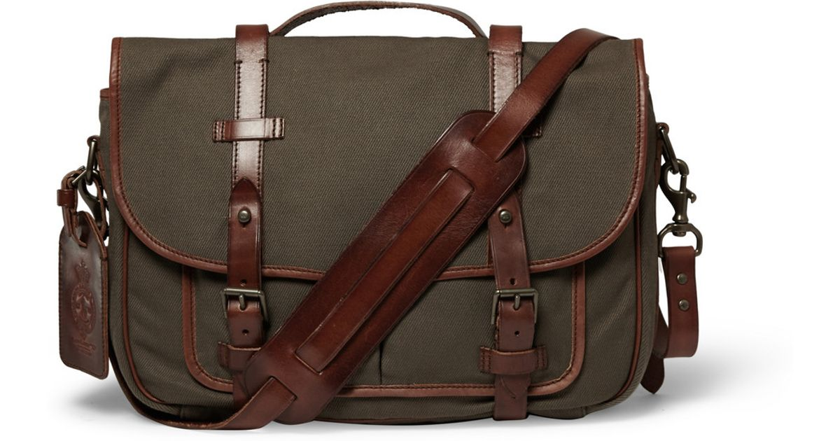 f1b4a7fcc21a Lyst - Polo Ralph Lauren Canvas and Leather Messenger Bag in Green for Men