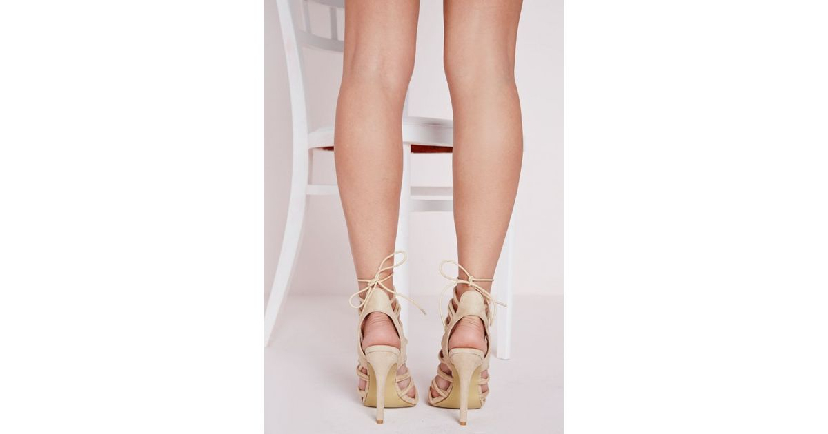 1dbee429880 Missguided Rope Lace Up Gladiator Heeled Sandals Nude in Natural - Lyst