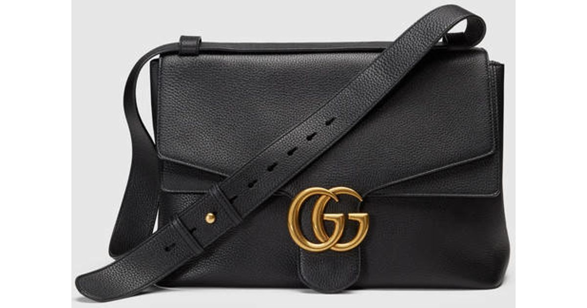 e661850f5 Gucci Gg Marmont Leather Shoulder Bag in Black - Lyst