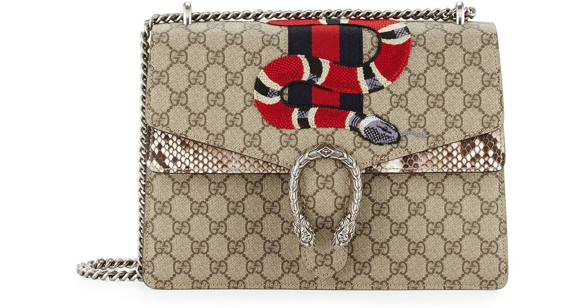 1997cfdc8 Gucci Dionysus GG Supreme Canvas And Python Shoulder Bag in Gray - Lyst