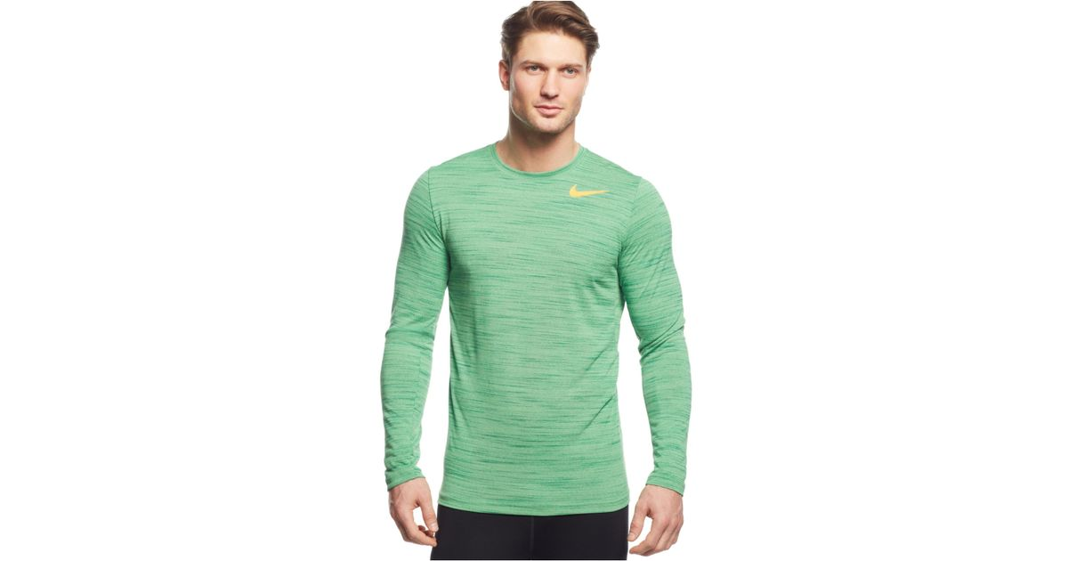 371a100f Nike Dri-fit Touch Performance Long Sleeve Shirt in Green for Men - Lyst