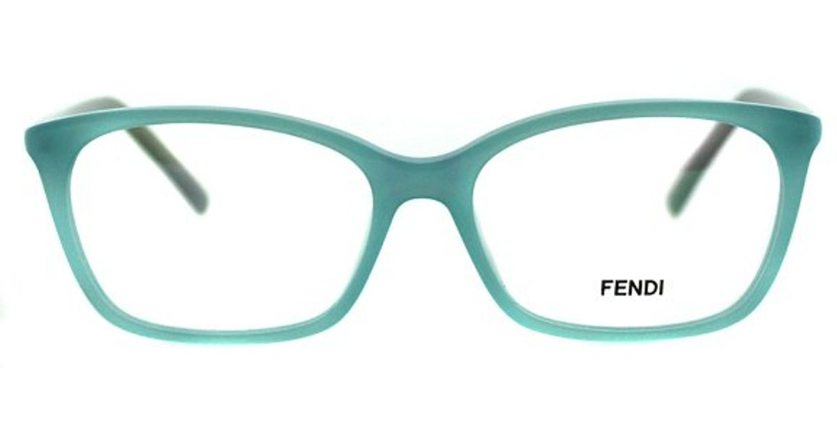1744f560fada Lyst - Fendi Fe 1020 444 Aqua Rectangle Metal Eyeglasses in Blue