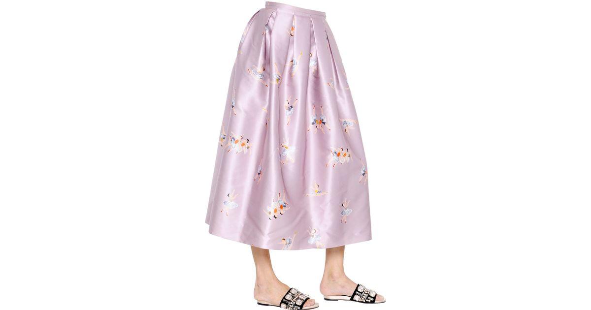 rochas ballerina printed duchesse midi skirt in purple lyst