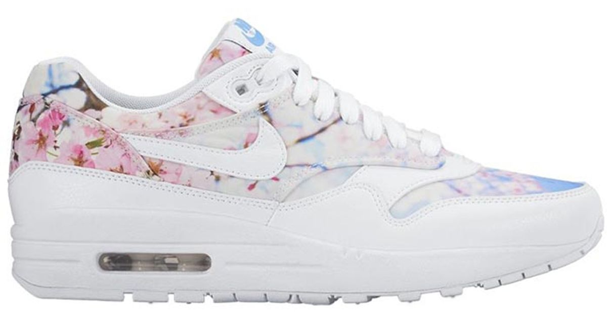 pretty nice 45238 0220b ... Print Lyst - Nike Air Max 1 Cherry Blossom Leather Low-Top Sneakers in  White ...