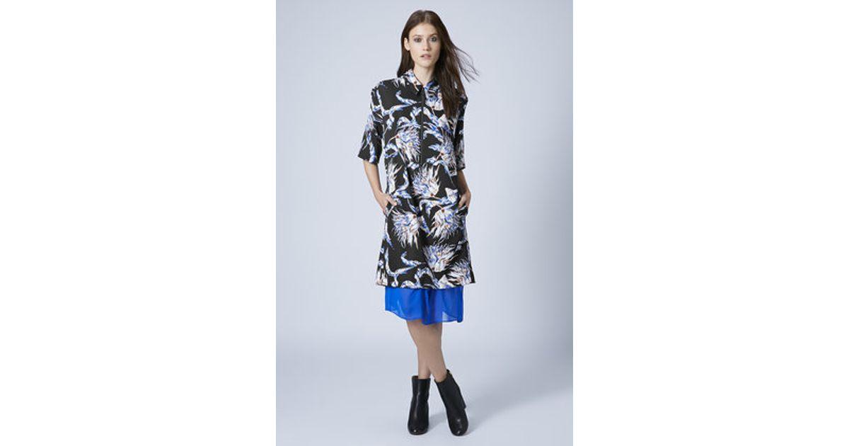 e4b79508700f09 TOPSHOP Artichoke Floral Print Shirt Dress in Black - Lyst