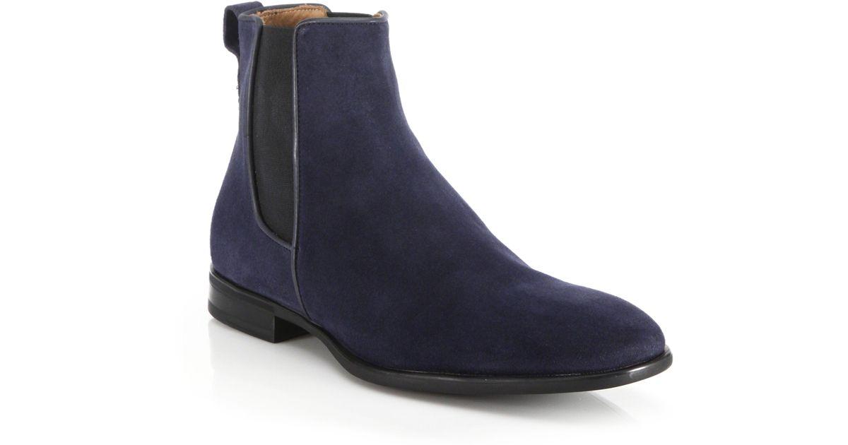 Aquatalia Adrian Suede Chelsea Boots In Blue For Men Lyst