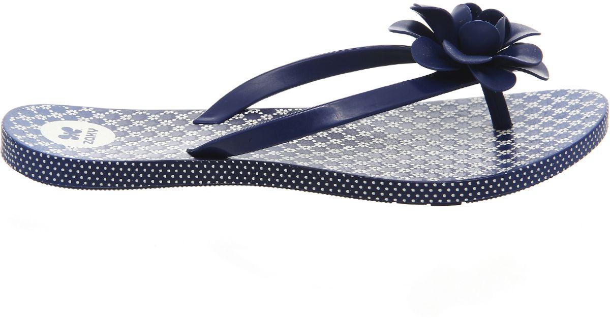 fd5137f24da9 Lyst - Zaxy Flowers Flip Flop in Blue