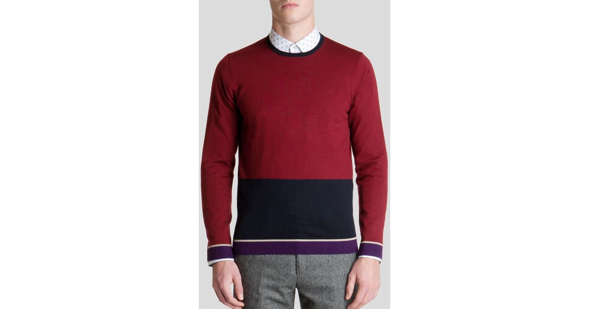 8798d3ad46c958 Lyst - Ted Baker Stelham Merino Wool Color Block Sweater in Red for Men