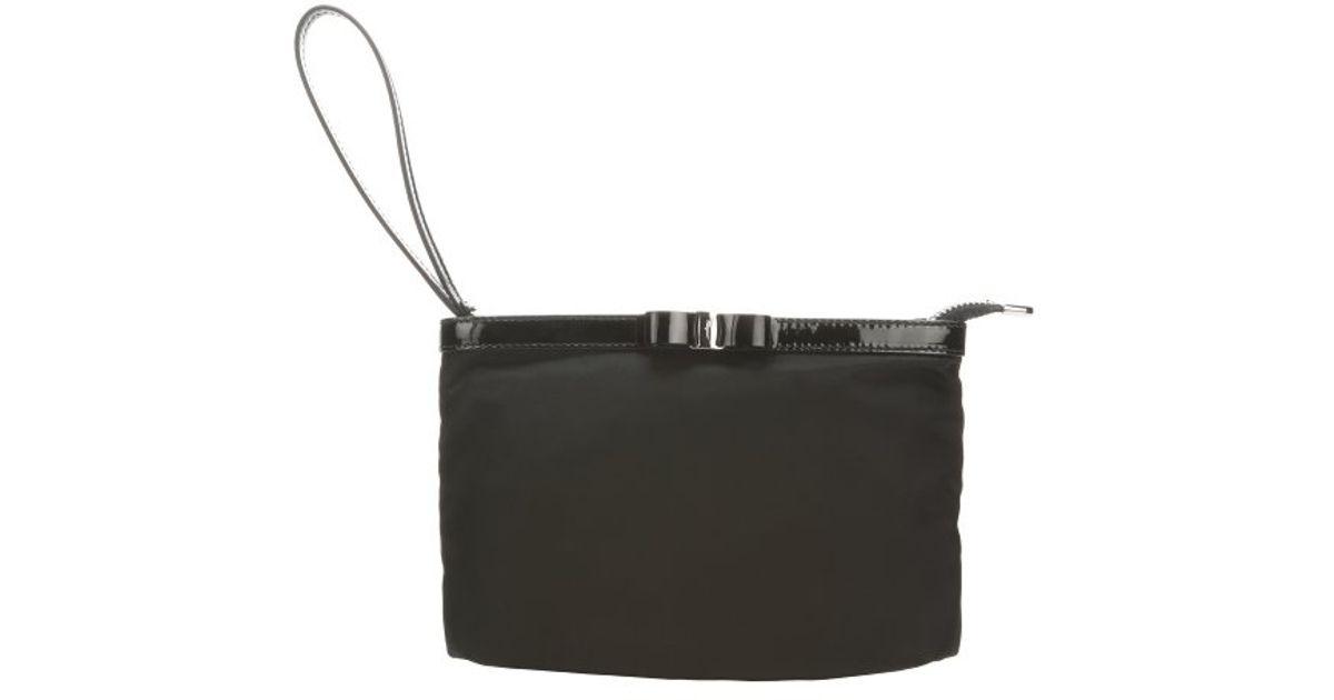 23098ad45c Lyst - Ferragamo Nero Nylon Bow Detail Cosmetic Pouch in Black