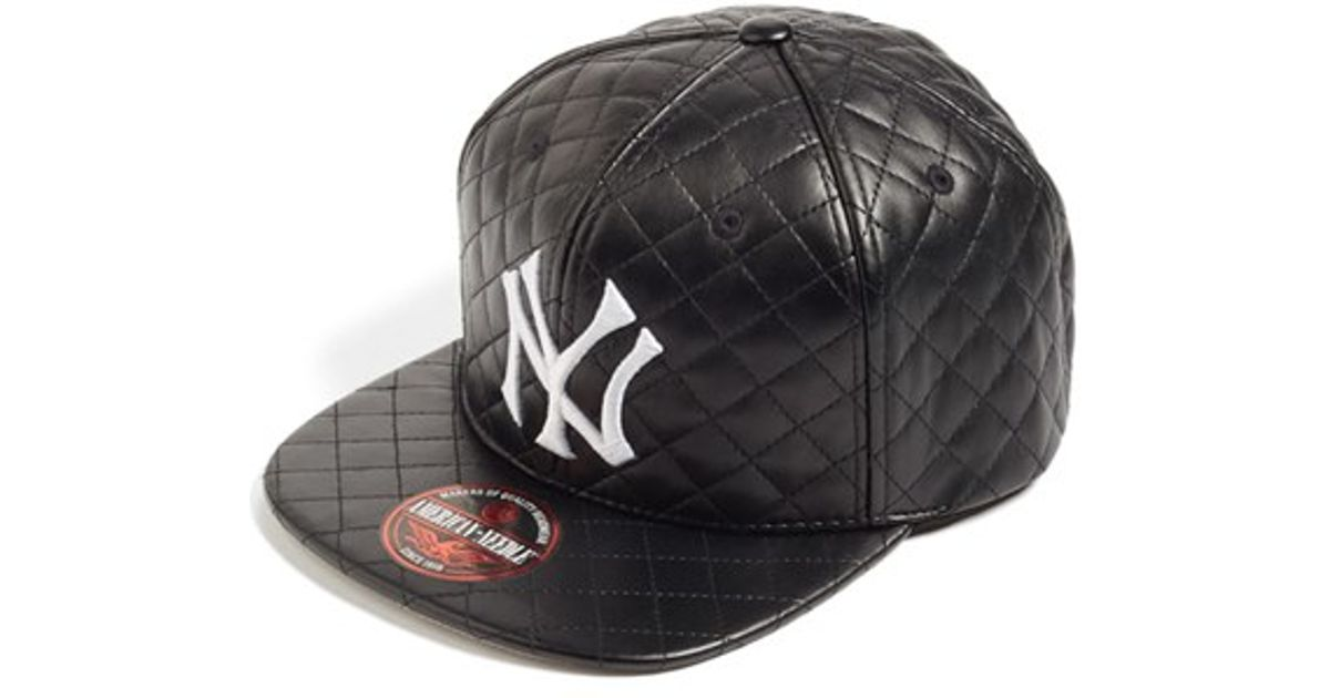 4b15a002594 Lyst - American Needle  new York Yankees - Quilted  Faux Leather Snapback  Cap in Black for Men