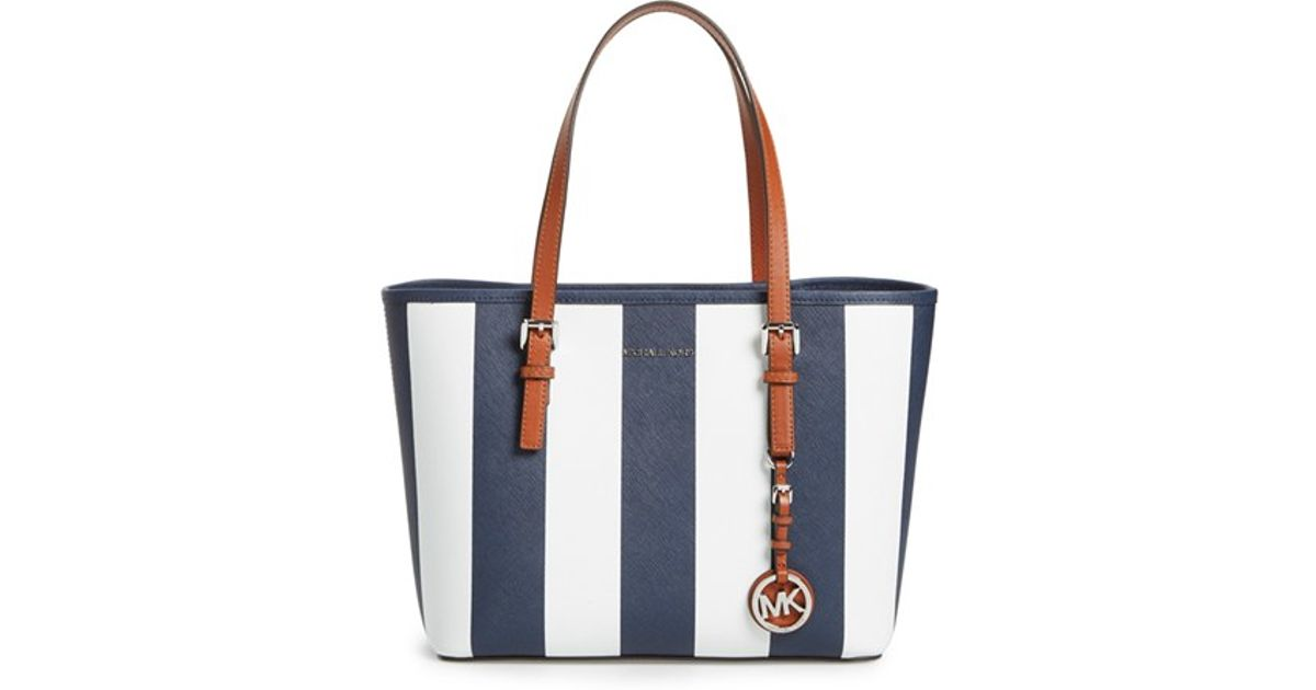 4df5d8ae6e733b ... switzerland lyst michael michael kors small jet set stripe leather  travel tote in blue aace5 946e6