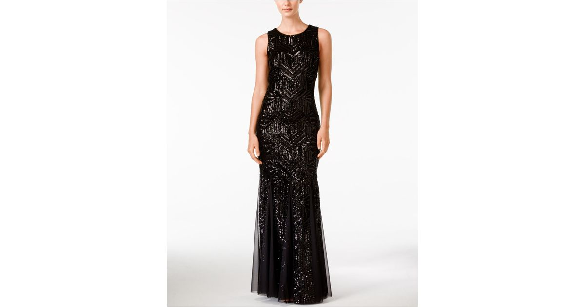 22cc87127870 Lyst - Calvin Klein Sequined Sleeveless Mermaid Gown in Black