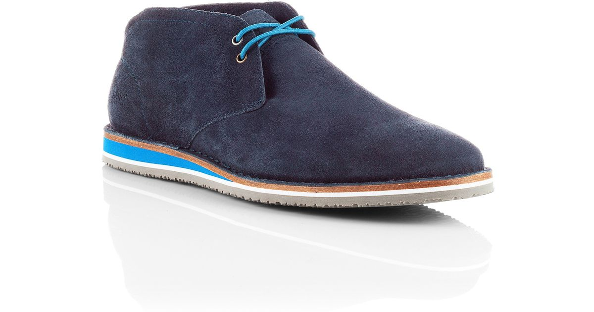7abe279a165a BOSS Orange Suede Desert Boot Voluo in Blue for Men - Lyst
