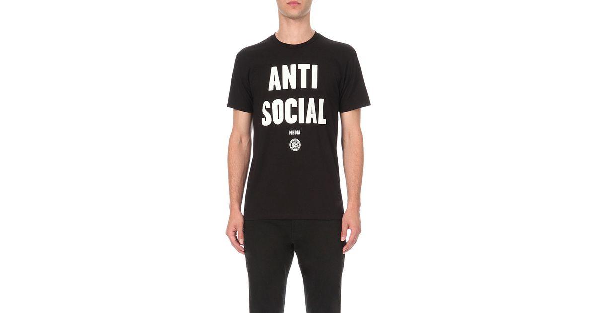 e13414b3b Obey Anti Social-print Cotton T-shirt, Men's, Size: M, Black in Black for  Men - Lyst