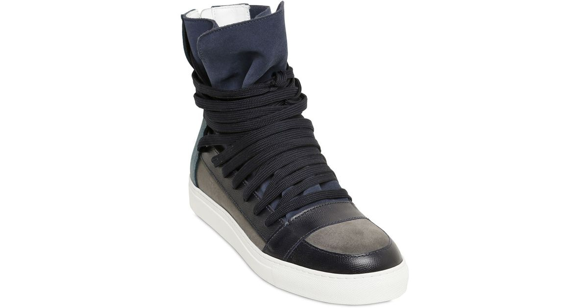 6dd7889dff0717 Kris Van Assche Leather   Suede High Top Sneakers in Blue for Men - Lyst