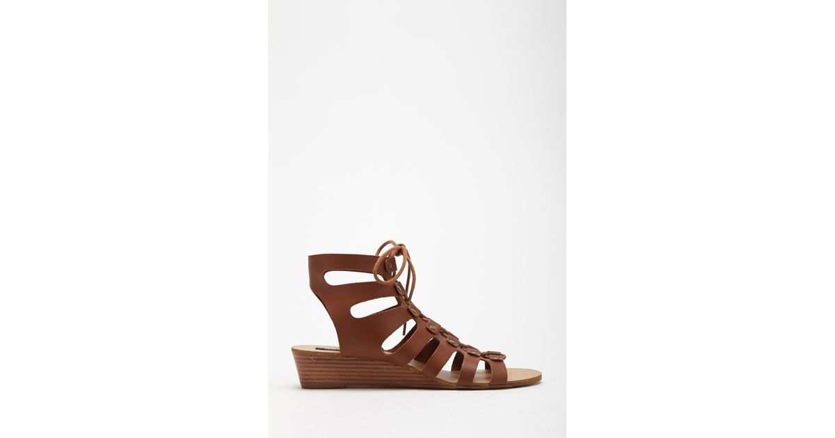 621ba16468b0 Lyst - Forever 21 Lace-up Wedge Gladiator Sandals in Brown
