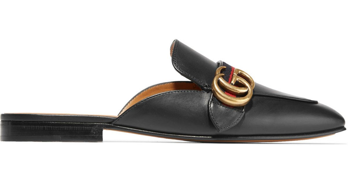 b0ea82d73b5f Gucci Peyton Leather Slippers in Black - Lyst
