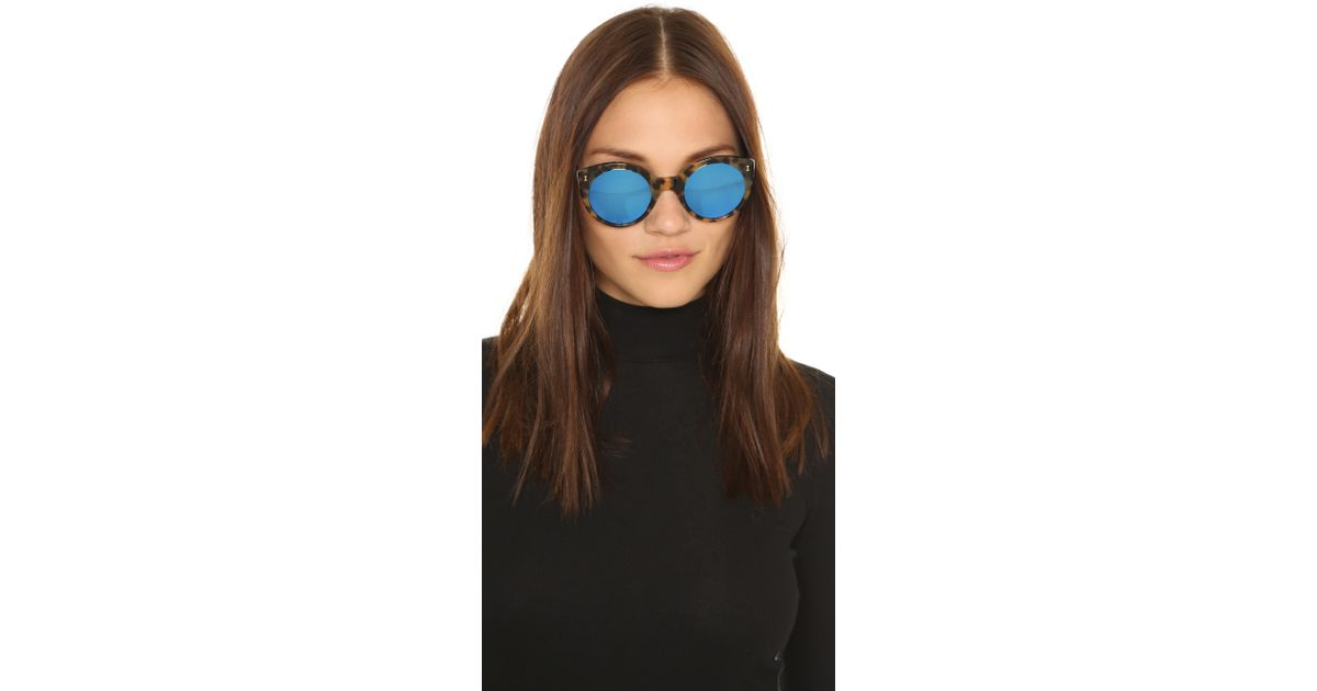 625e10ecd69 Lyst - Illesteva Palm Beach Mirrored Sunglasses in Blue